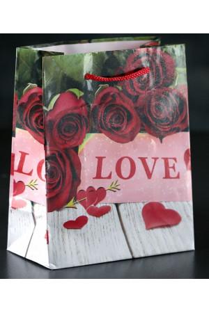 """Маленький подарочный пакет """"Love"""" - 15 х 12 см."""