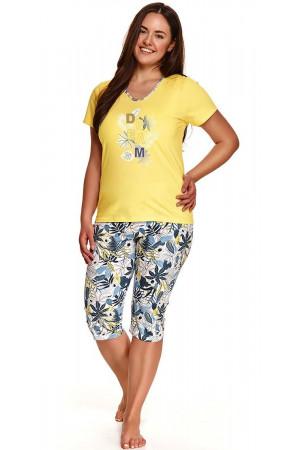 Хлопковая пижама Donata со светлыми принтованными бриджами