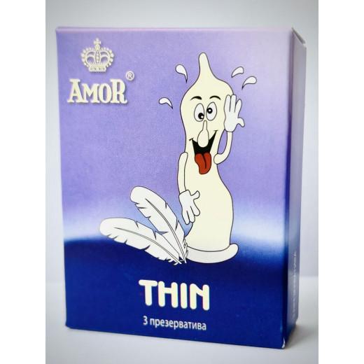 """Супертонкие презервативы AMOR Thin """"Яркая линия"""" - 3 шт."""