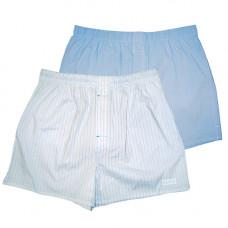 Комплект из 2 мужских трусов-шортов:  голубых и белых в полоску
