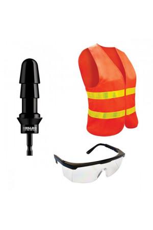 Комплект для секс-дрели DRILLDO - бит-адаптер, очки, жилет